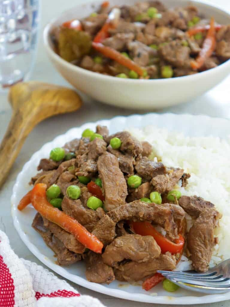 pork and liver stew with steamed rice on a plate