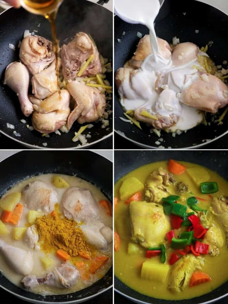 step by step procedure on how to make chicken curry