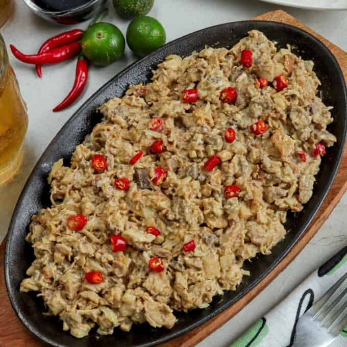 Chicken Sisig on a metal plate