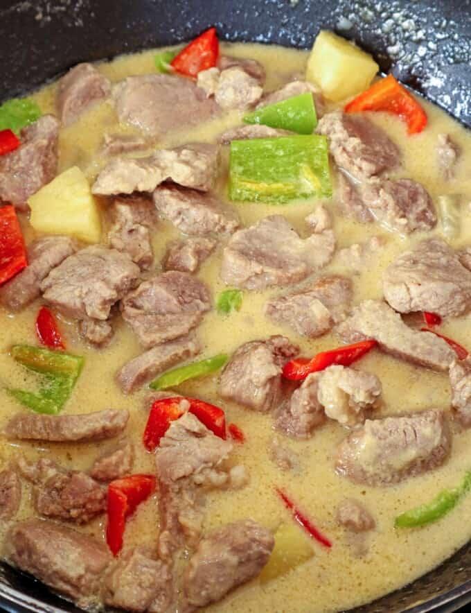 Creamy Pineapple Pork in a pan