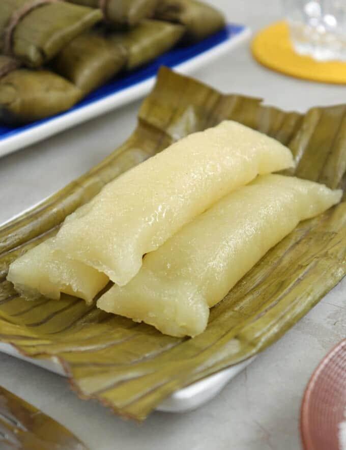 sumang kamoteng kahoy on a plate
