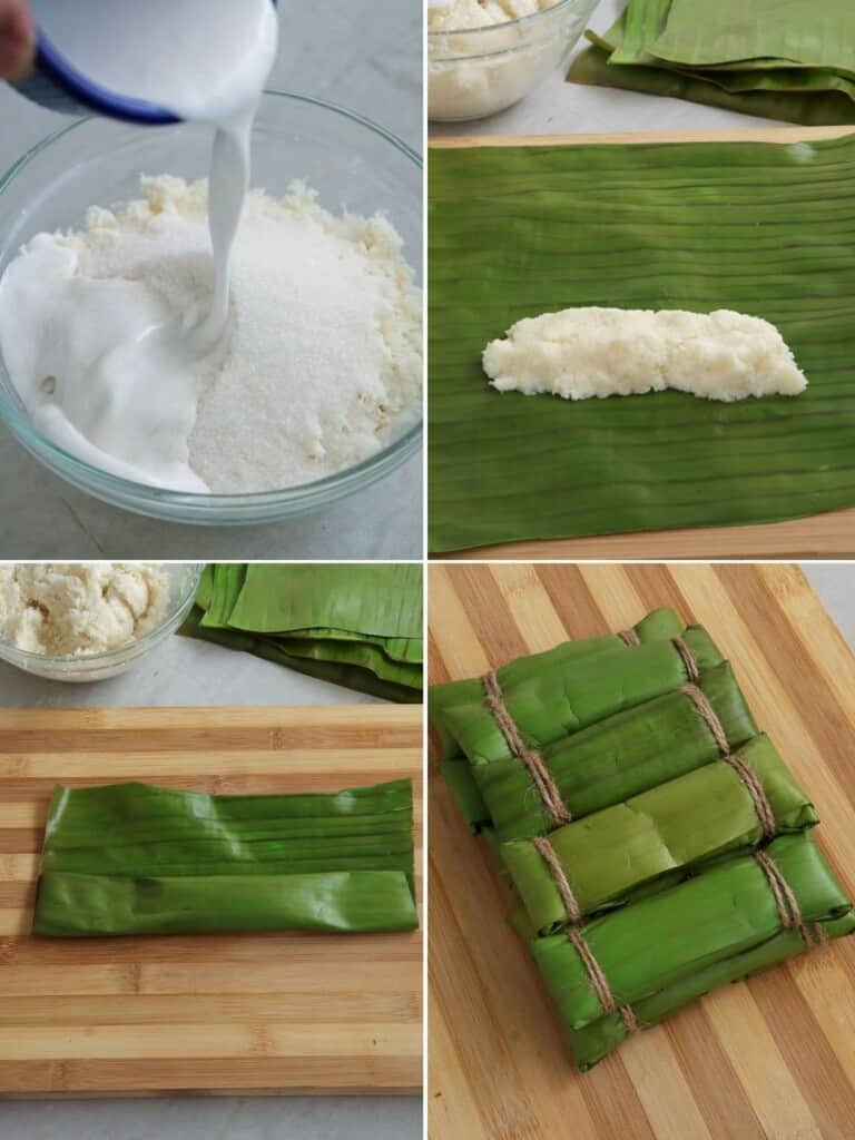 wrapping cassava suman mixture in banana leaves