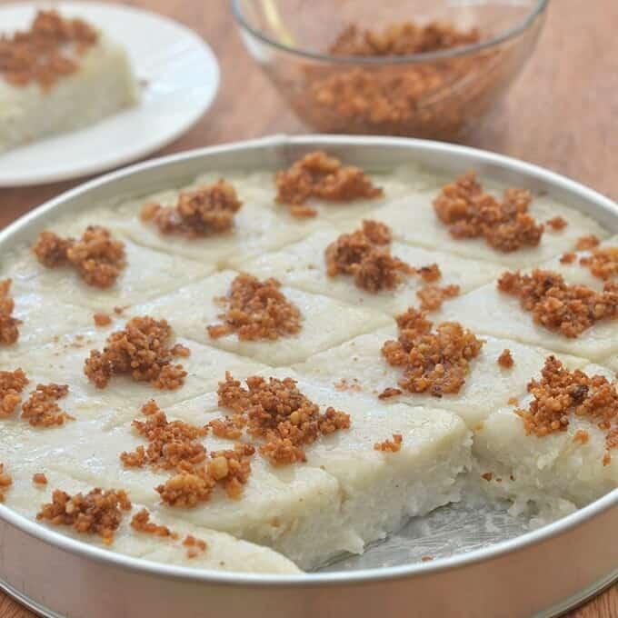 kalamay gabi in a round tin baking dish
