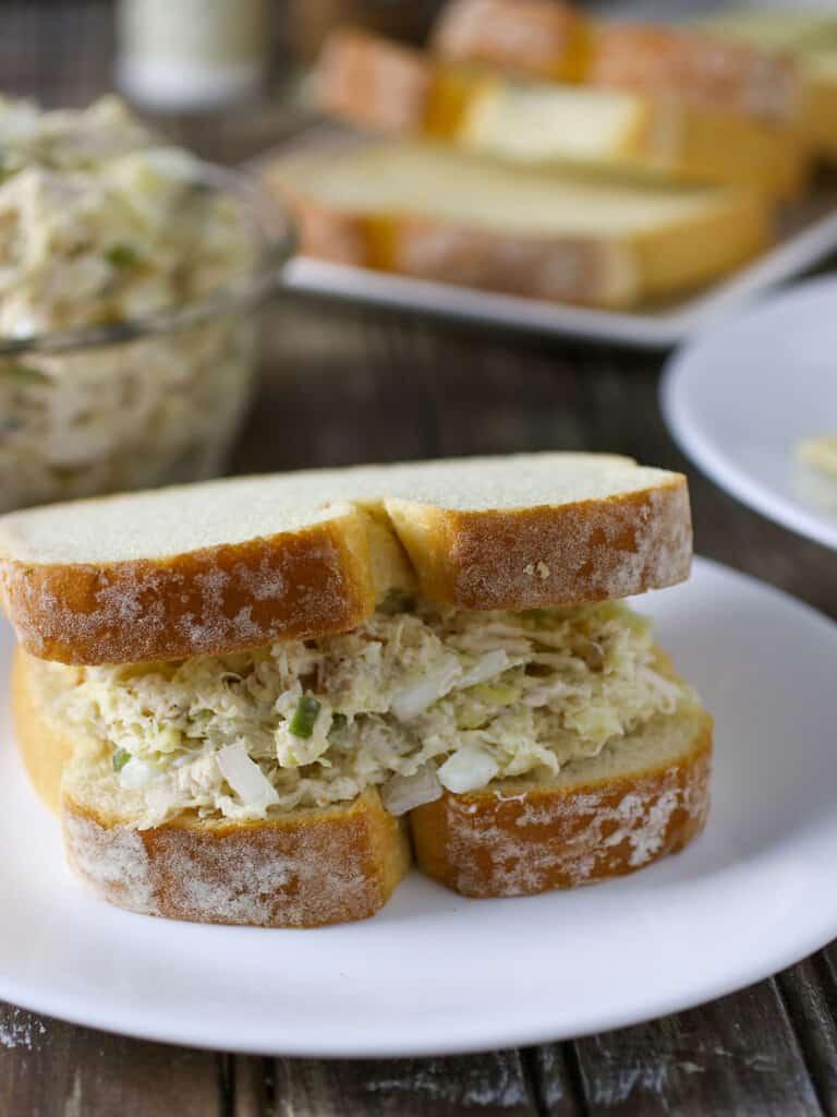 Chicken Salad Sandwich on a white plate