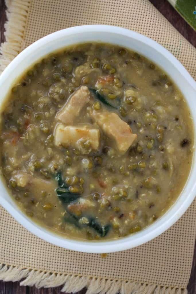 ginataang munggo at baboy in a serving bowl