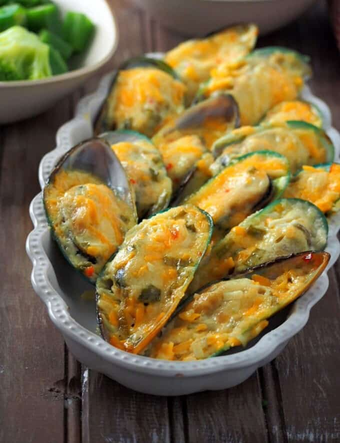 baked tahong in a white rectangle serving dish