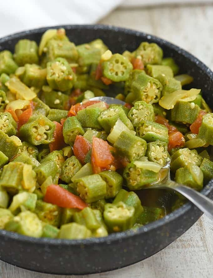okra and tomato stew in a skillet