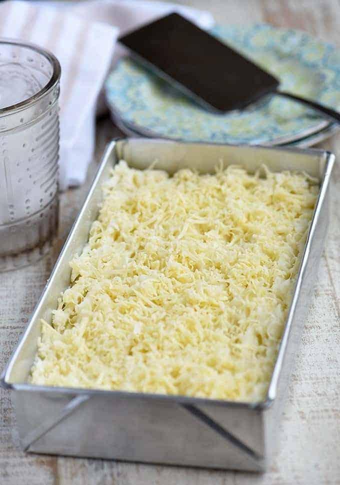 Nilupak kamoteng kahoy in a rectangular pan