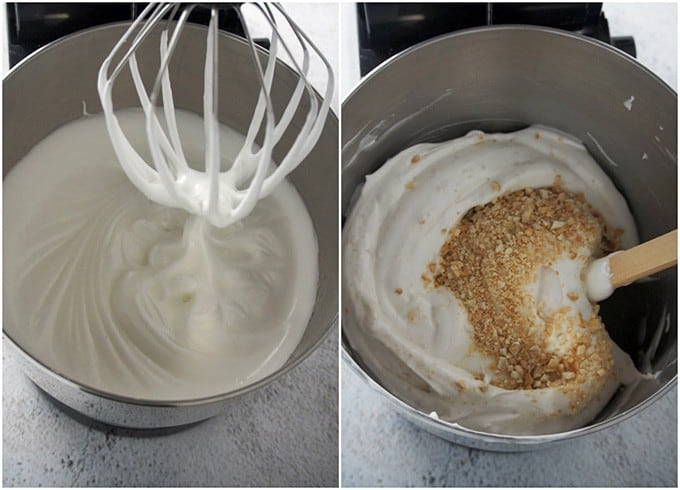 making meringue in a stand mixer for Sans Rival cake