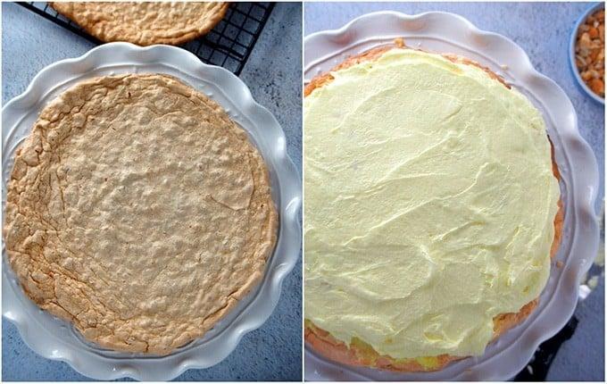 assembling sans rival cake