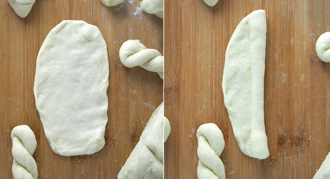 shaping the yeast dough to make shakoy donuts on a wooden board