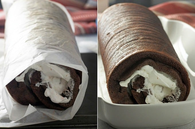 rolled swiss cake in a white rectangular dish