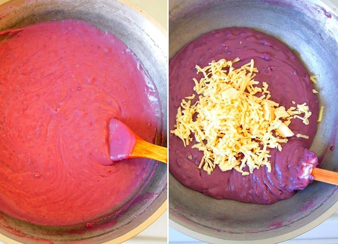 making ube halaya in a skillet