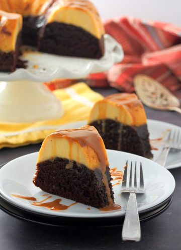 slices of Impossible Chocolate Flan Cake on white serving plates