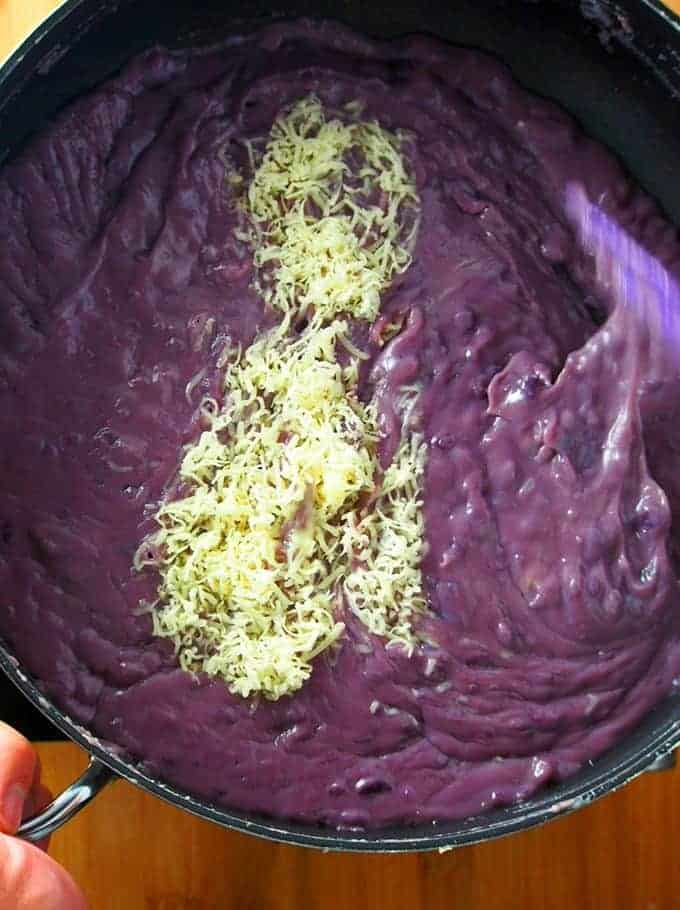 making ube halaya in a pan