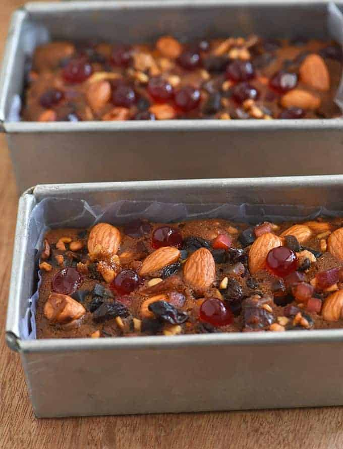 baked fruitcake in small baking pans