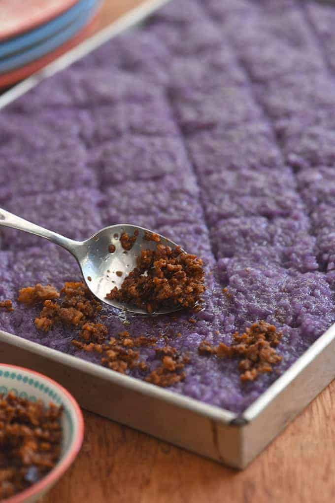 topping ube biko with latik
