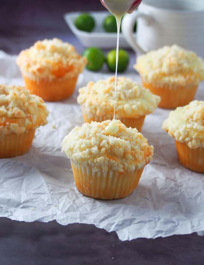 drizzling citrus glaze on calamansi muffins