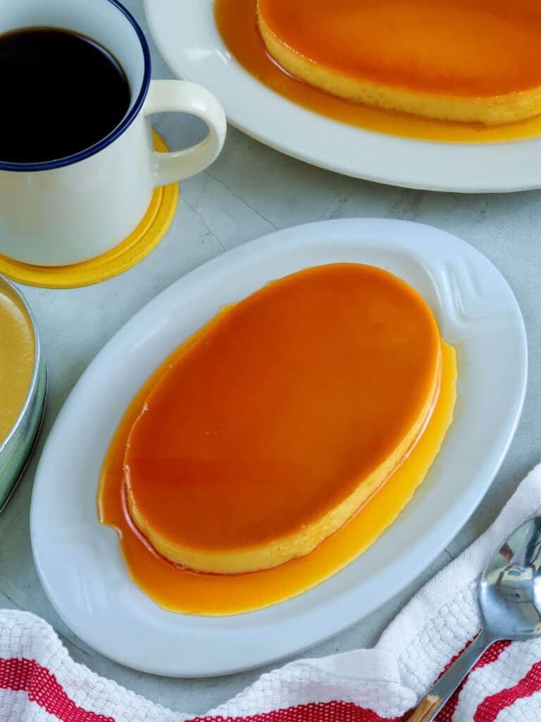 Leche Flan on a white serving platter