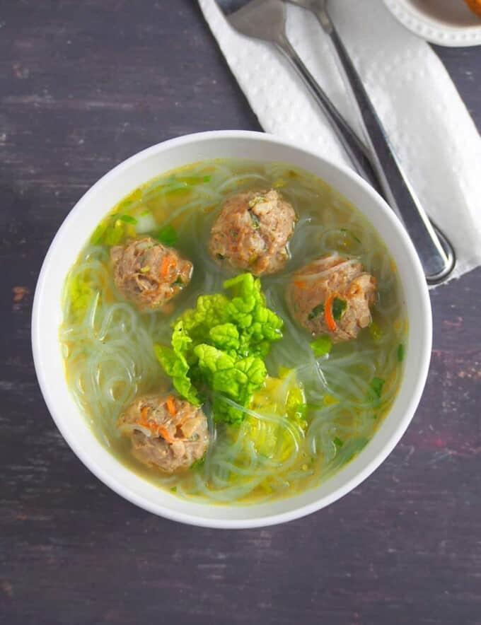 Sotanghon at Bola-Bola Soup in a white bowl