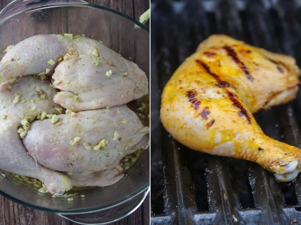 marinating in a vinegar, calamansi juice, lemongrass, garlic, and ginger in a clear glass bowl and grilling