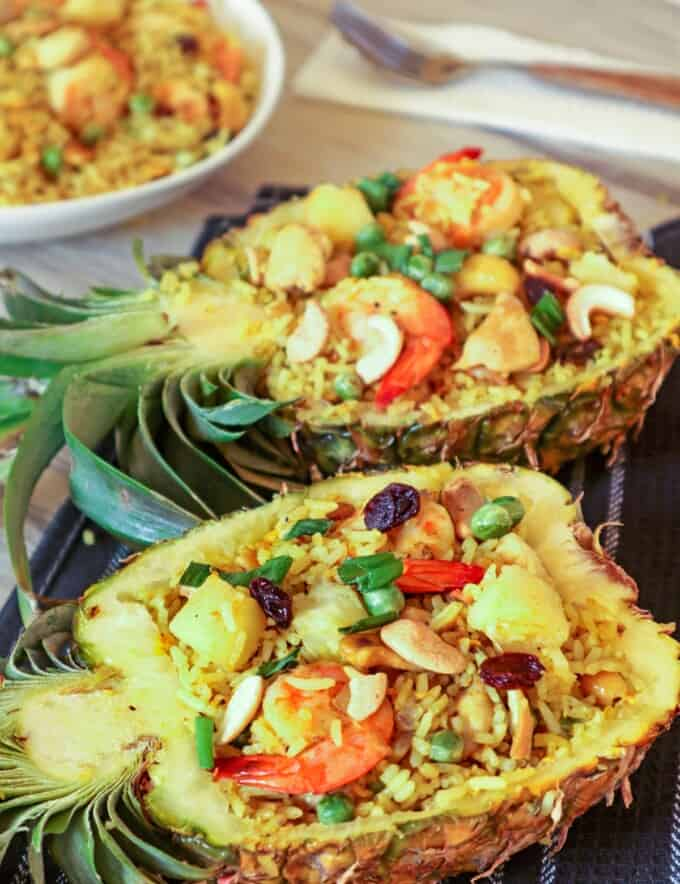 Pineapple Fried Rice served in pineapple boats