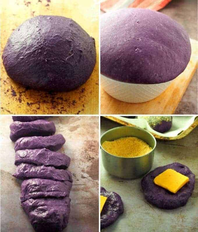 kneading, proofing, and assembling ube cheese pandesal