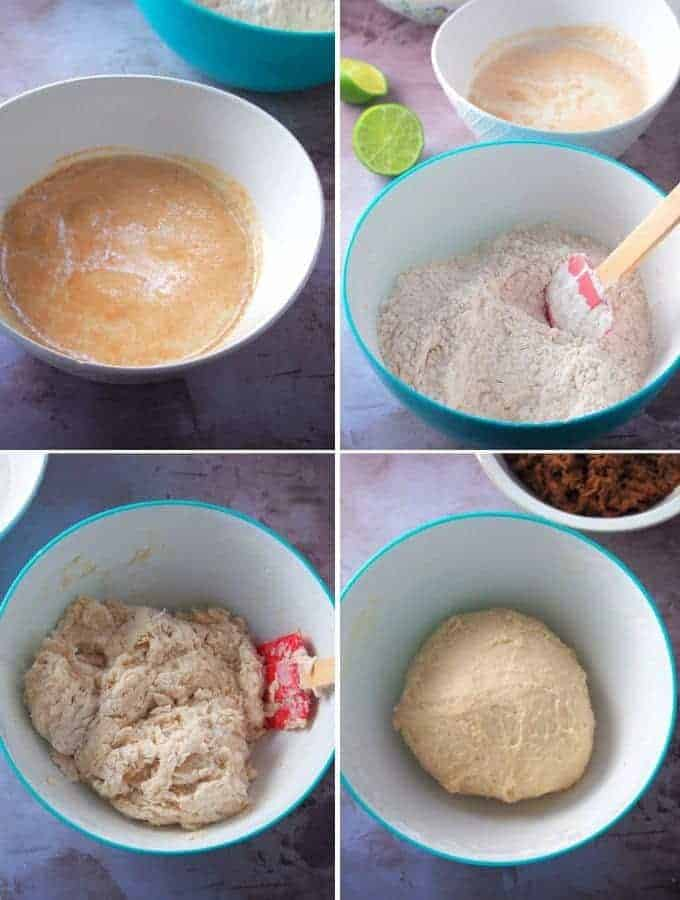 making siopao dough in a bowl