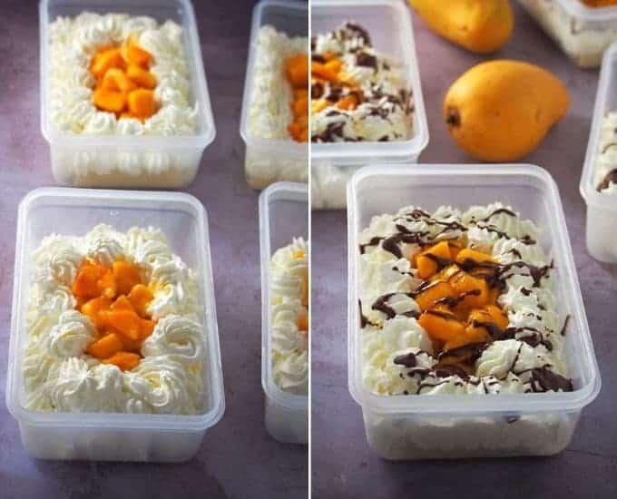 decorating mango bravo cake with sweetened mango cubes and melted chocolate