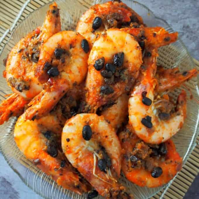Asian shrimp stir-fry with garlic black beans on a serving plate
