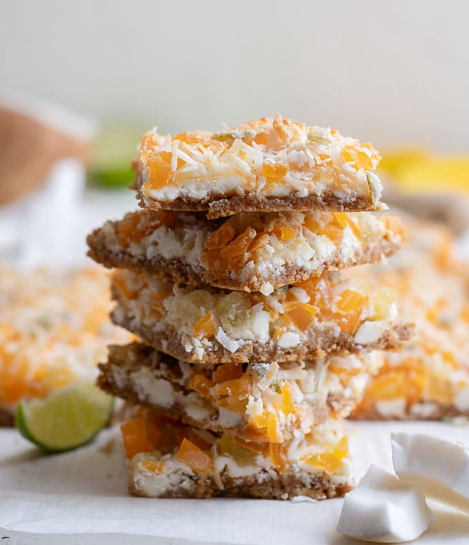 tropical magic bars on top of each other