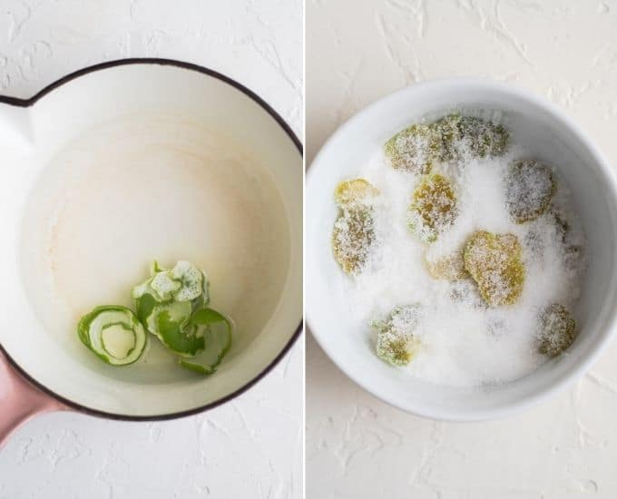 making candied lime peels