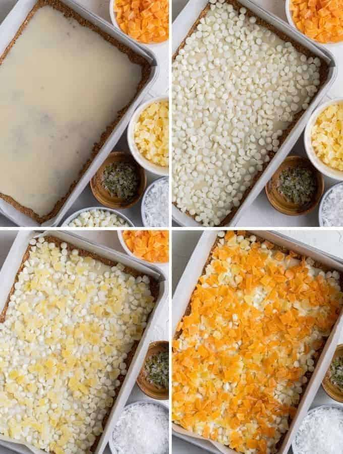 making tropical magic cookie bars using coconut, dried mangoes, white chocolate chips, dried pineapples