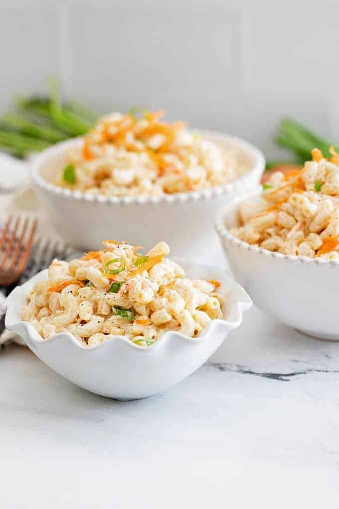 Hawaiian Mac Salad in white bowls