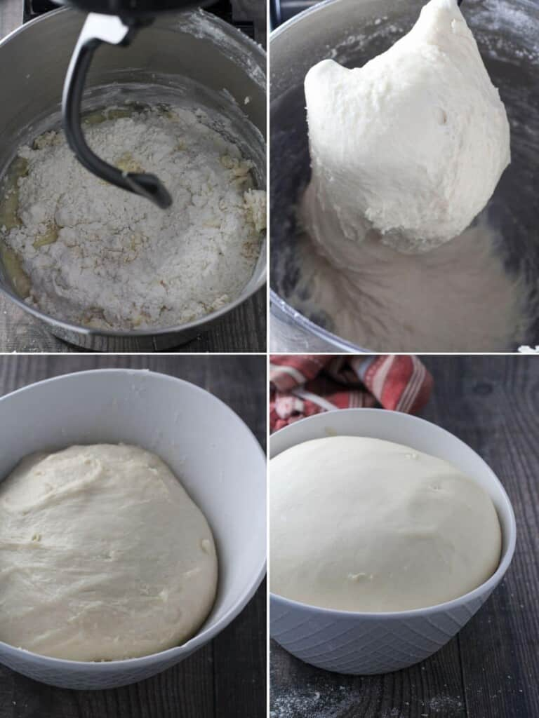 preparing the first dough in a stand mixer