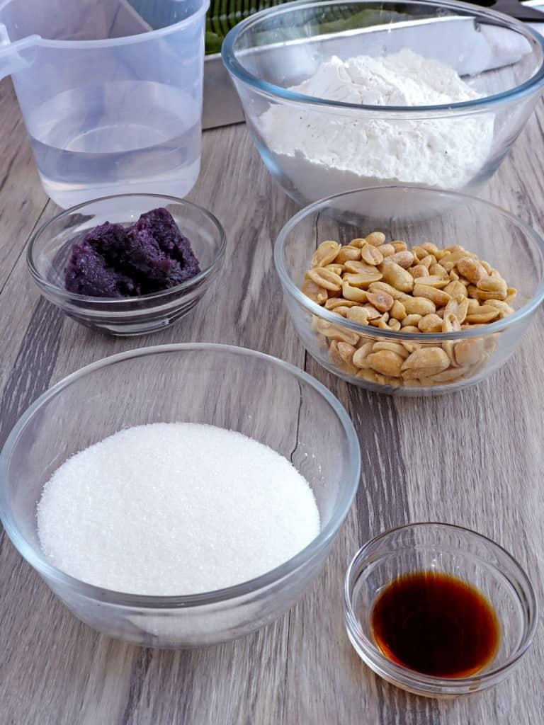 glutinous rice flour, penauts, ube halaya, sugar, water in bowls