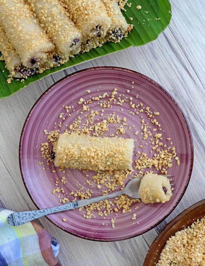Tikoy rolls with ube halaya filling on a plate