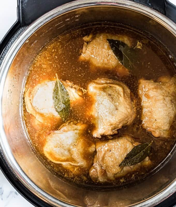 cooked chicken adobo in the Instant Pot