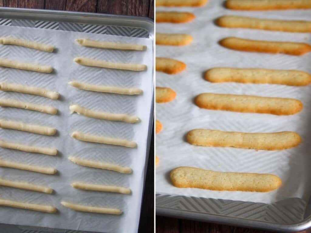 baking cat's tongue cookies on a parchment-lined baking sheet
