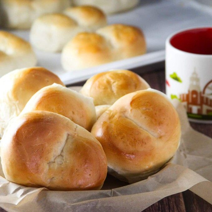 monay bread in a paper-lined basket