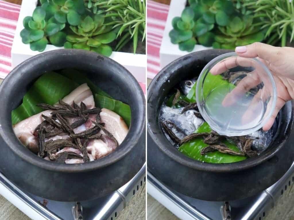 preparing the tulingan in a clay pot