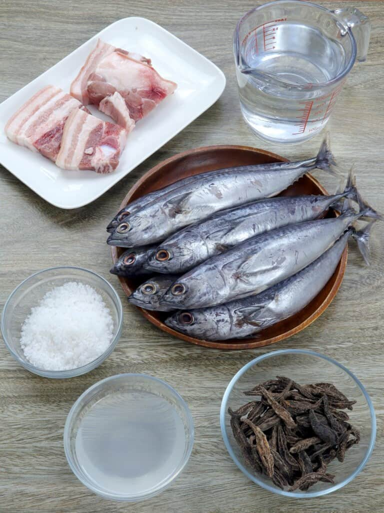 bullet tuna, pork belly, salt, dried kamias, vinegar