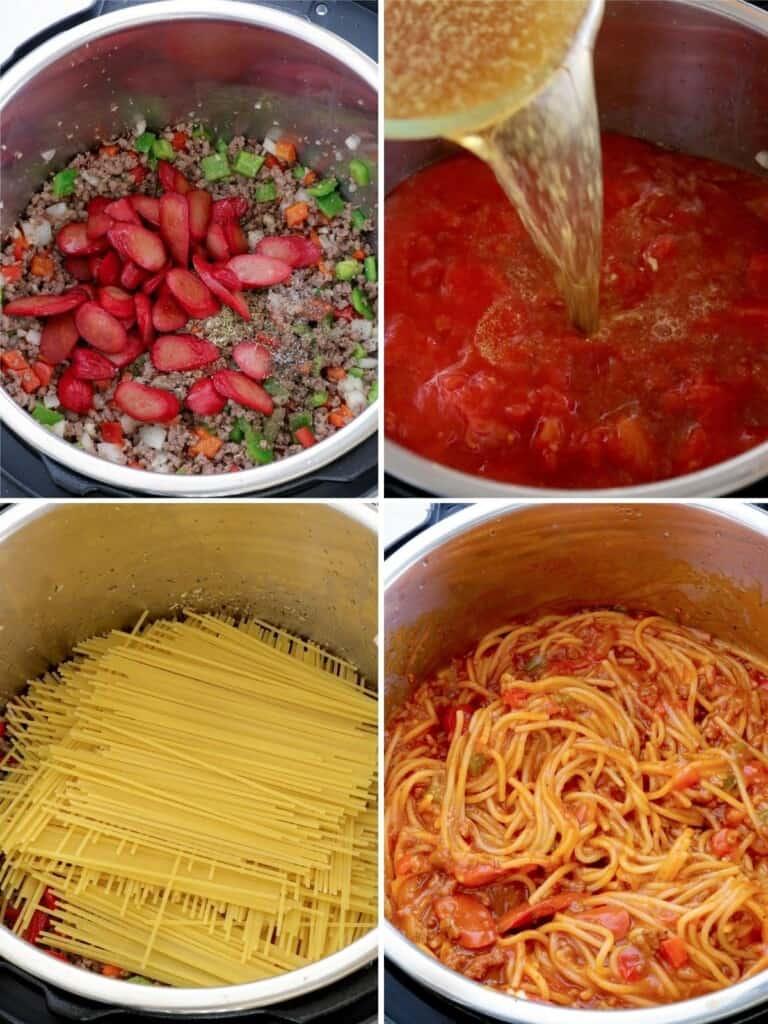 making Filipino spaghetti in the Instant Pot