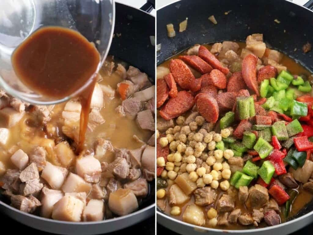 cooking Filipino pork and pickles stew in a pan
