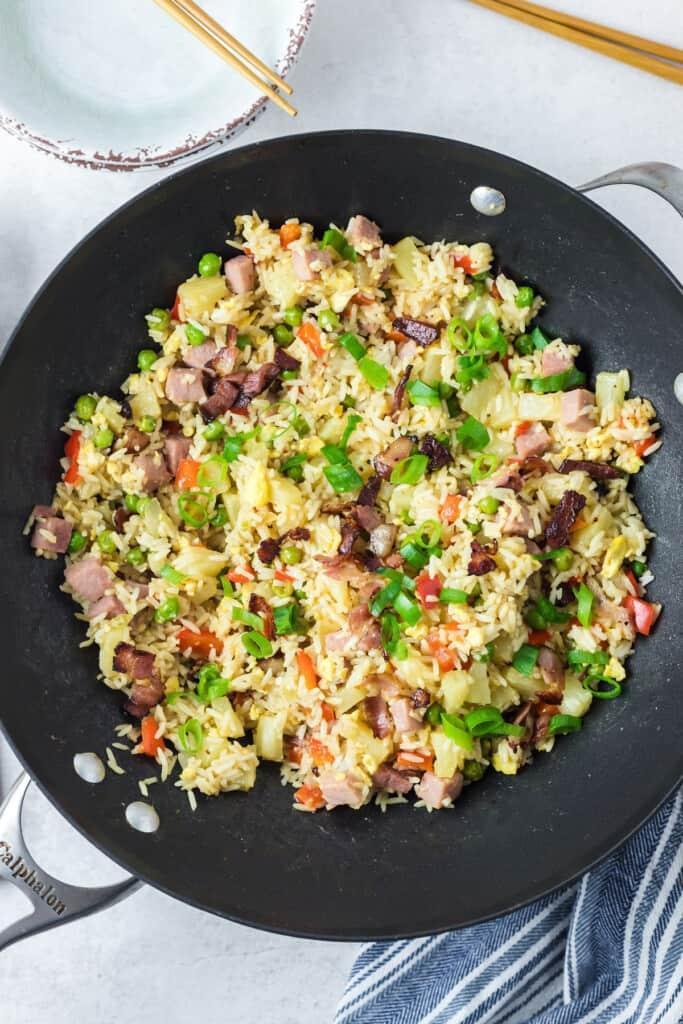 Hawaiian Fried Rice in a wok