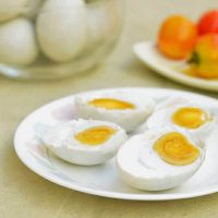 Salted eggs made of duck eggs brined in a salt solution. Salty and savory, they're a delicious addition to salads and baked delicacies!