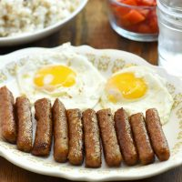 skinless longganisa, fried eggs, tomatoes, and garlic fried rice
