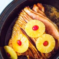 spiral ham with pineapples cooked in a crockpot